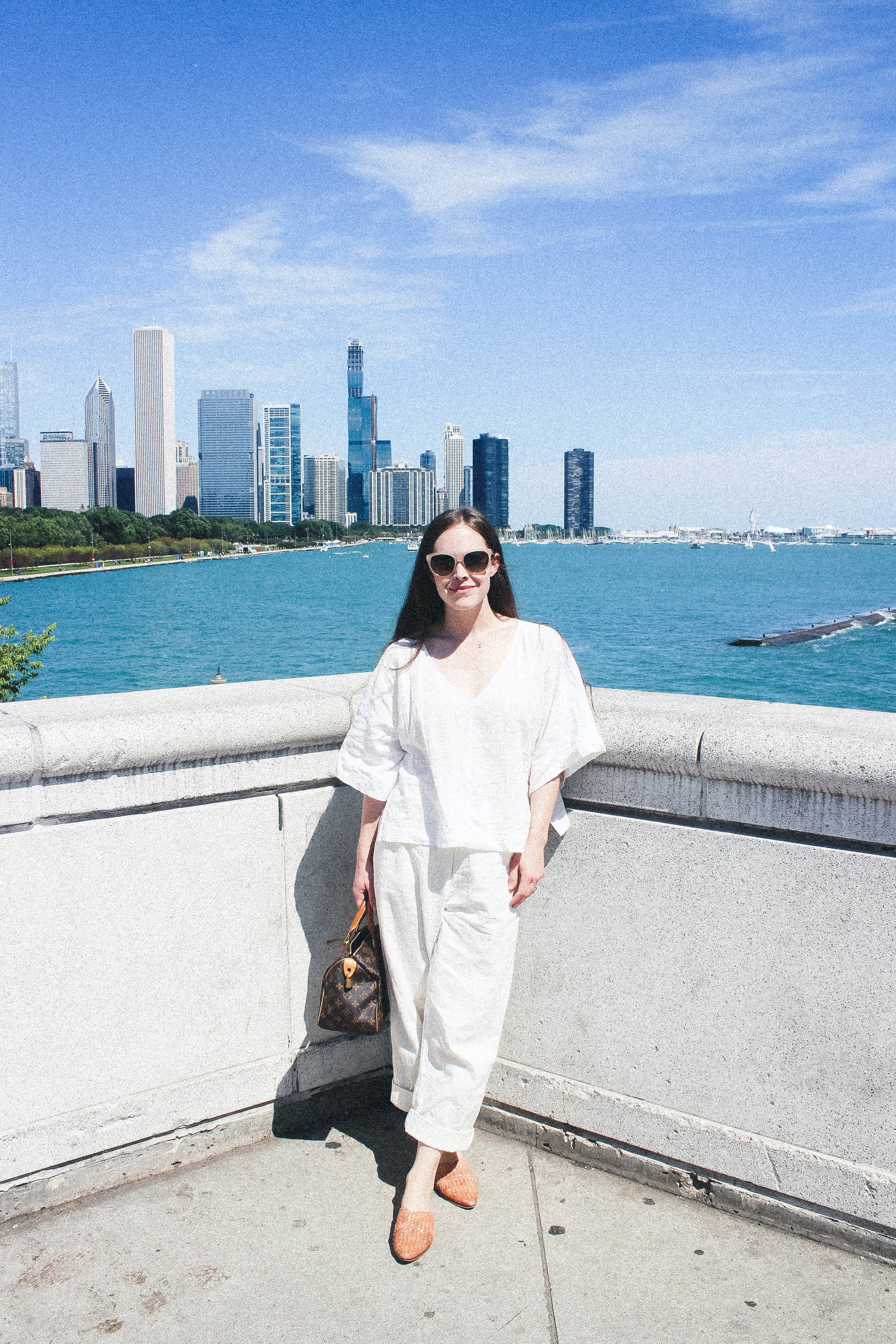 the wylde air top, THE WYLDE LUCETTE PANTS, LOUIS VUITTON SPEEDY 25, ST. AGNI CAIO SLIDES. | CHICAGO TRAVEL DIARY | taylorkristiina.com