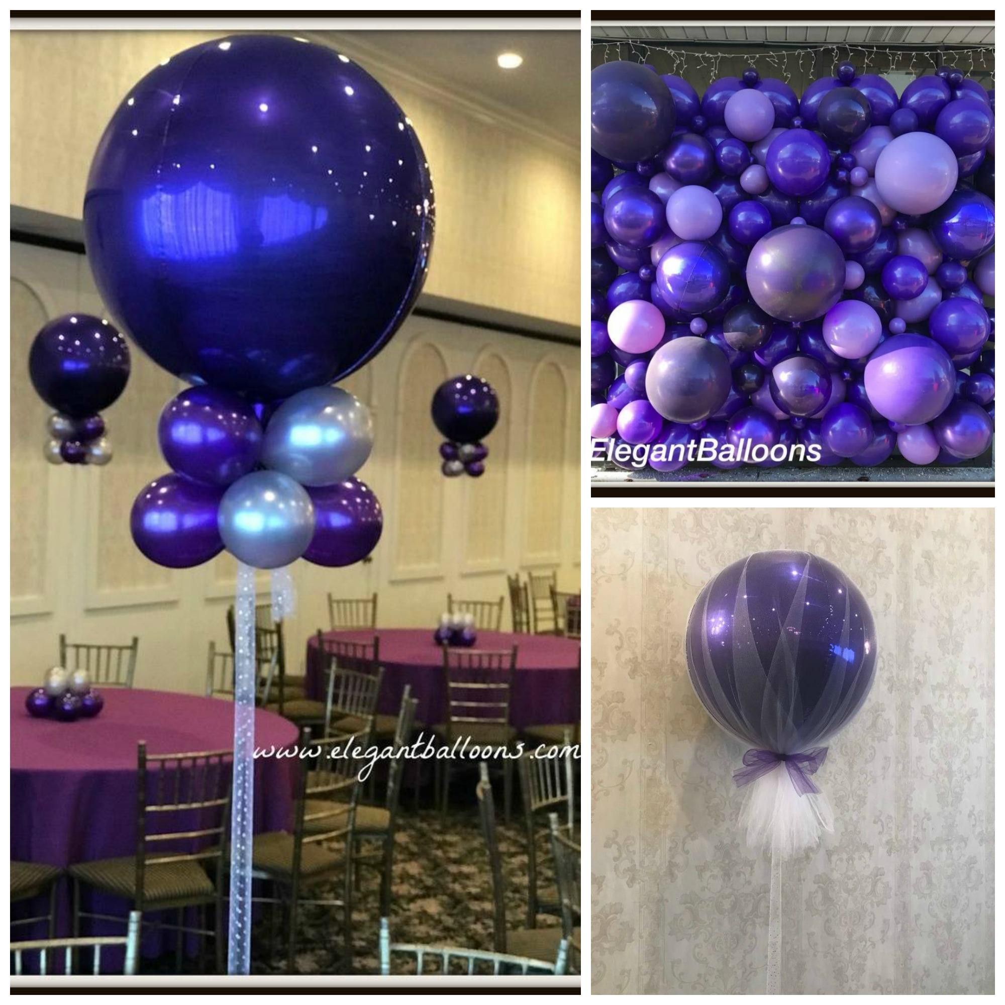 pretty purple orb and balloon wall