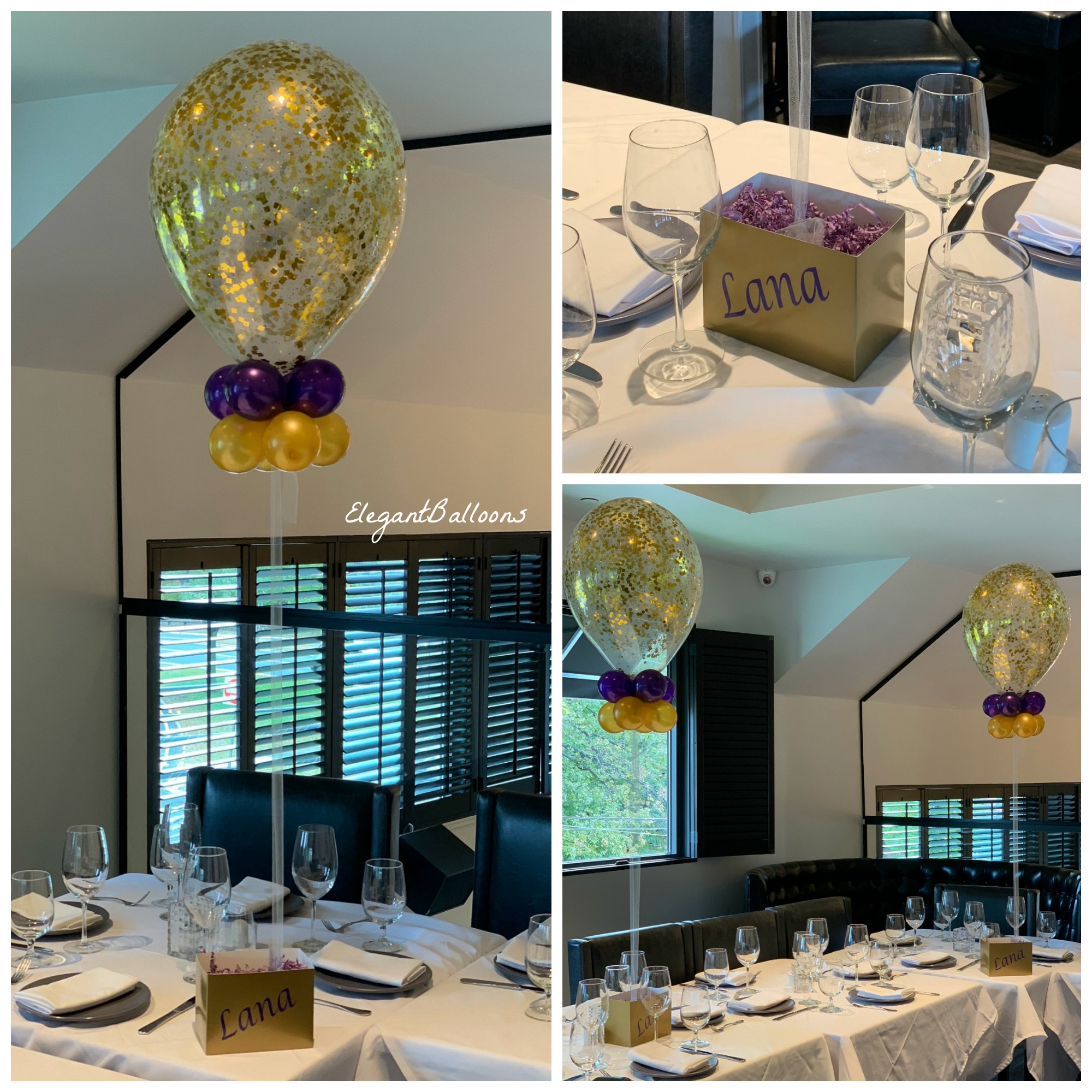 glitter balloons and personalize box