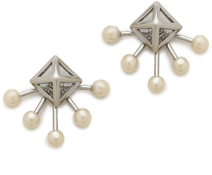 Pearl Pyramid Stud Earrings by Rebecca Minkoff, $38 at  Shopbop