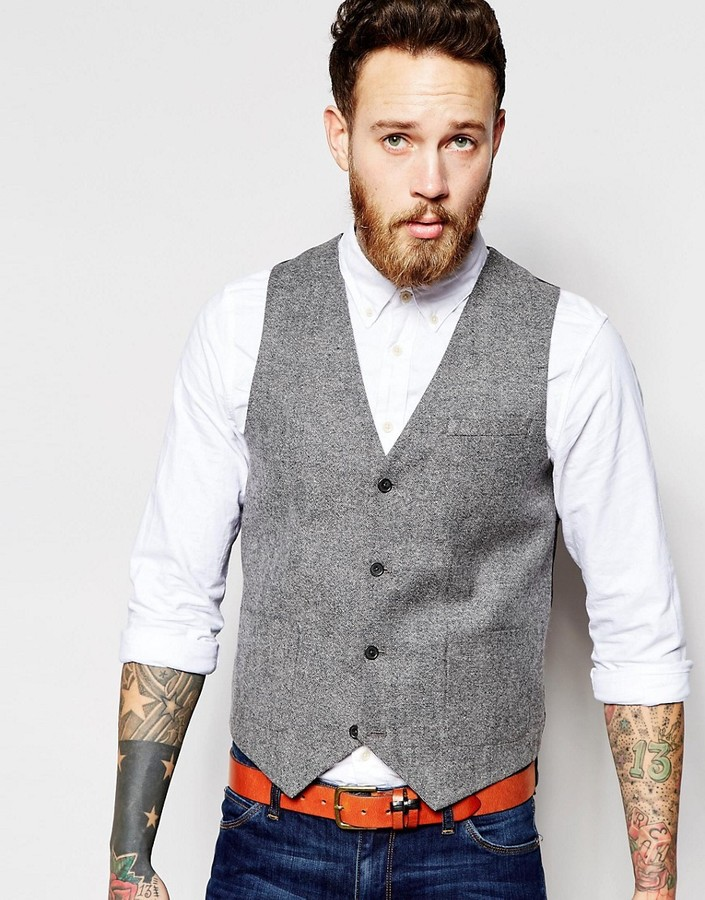 Tweed Slim Fit Vest  in Gray, $52 from Asos