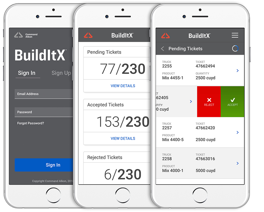 Command Alkon BuildItX Mobile App Designs