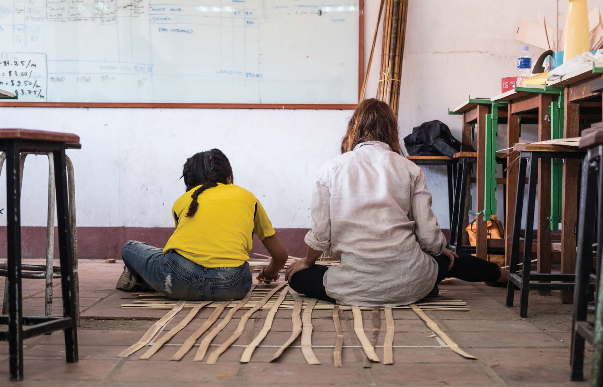 Re-learning how to use traditional bamboo material.