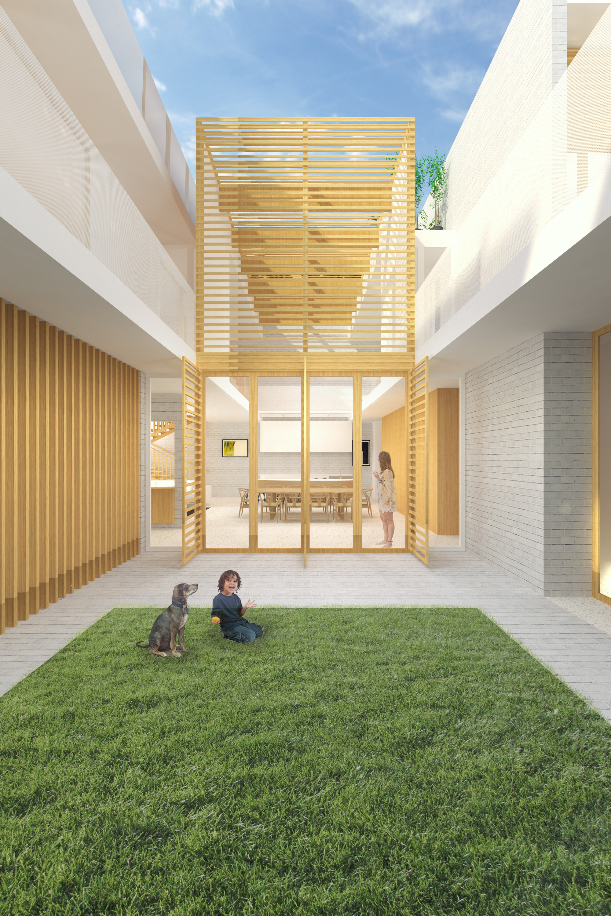 Rendering - The central void allows natural light and cool air to adequately penetrate the building in all areas.