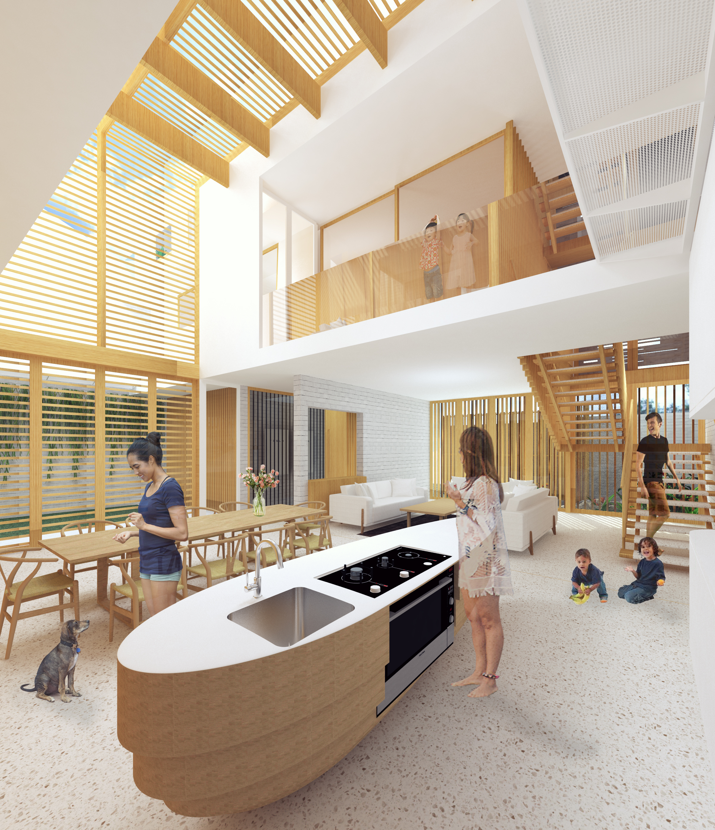 Rendering - The central atrium space gives opportunity for all generations grandparents, parents, children and grand children to come together and enjoy family time while also not imposing itself on the private spaces of the home.