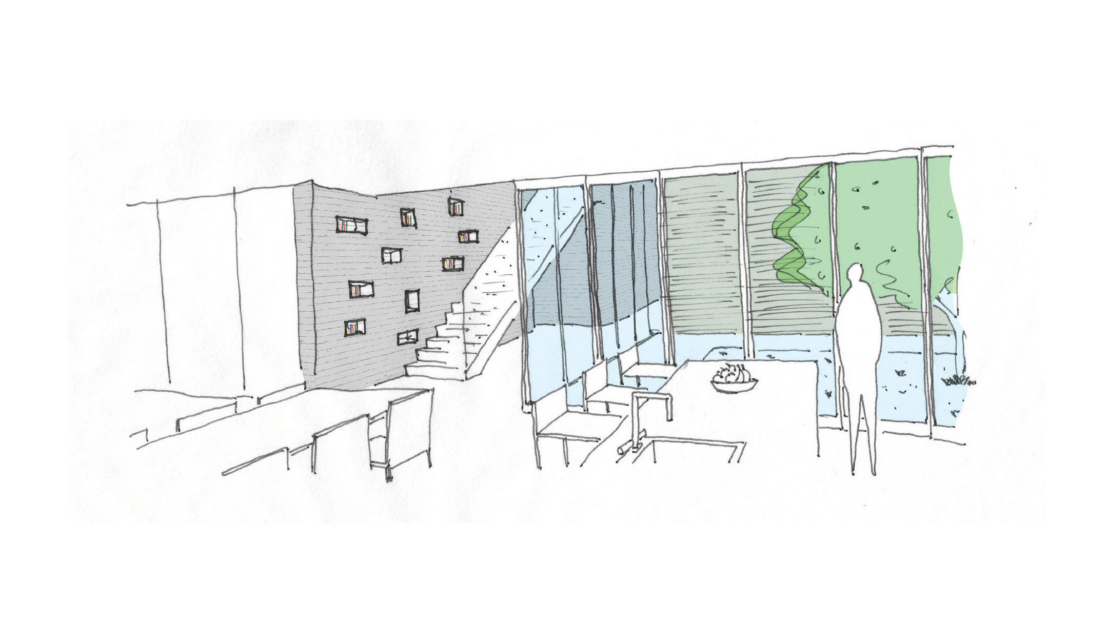 Concept sketch of interior courtyard and atrium space.