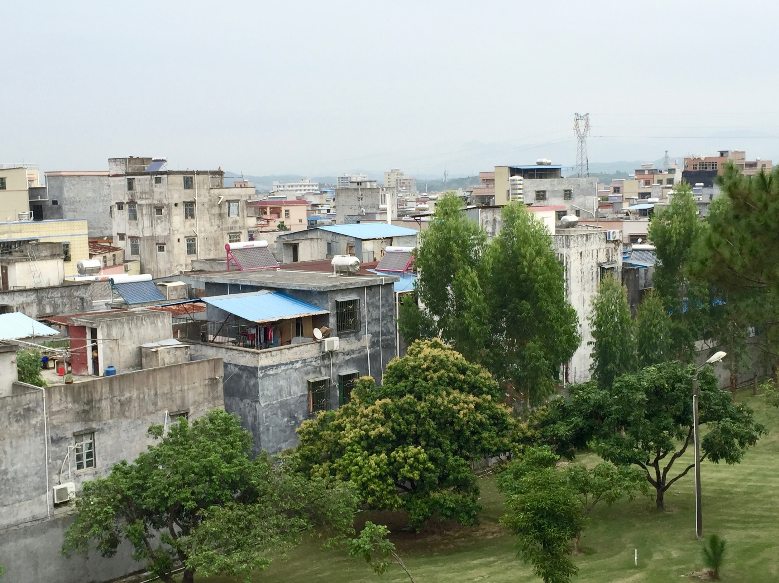 View of Pingshan from the upper balcony of the dorms.