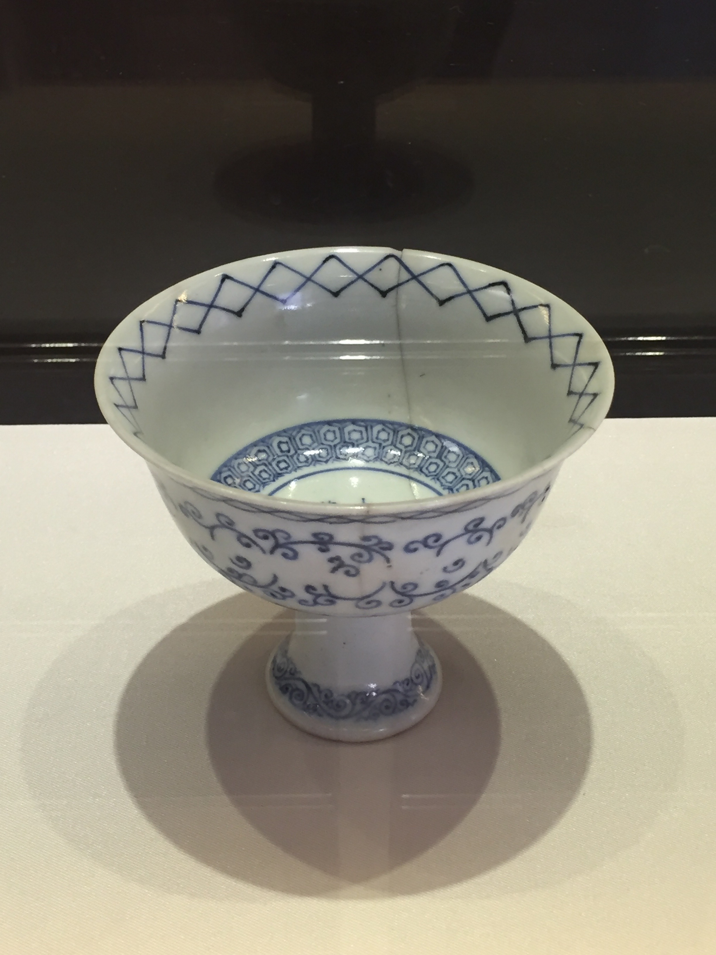 Blue and White Stem Bowl Traced in Gold  Xuande Emperor's Reign (1426-1435), Ming Dynasty