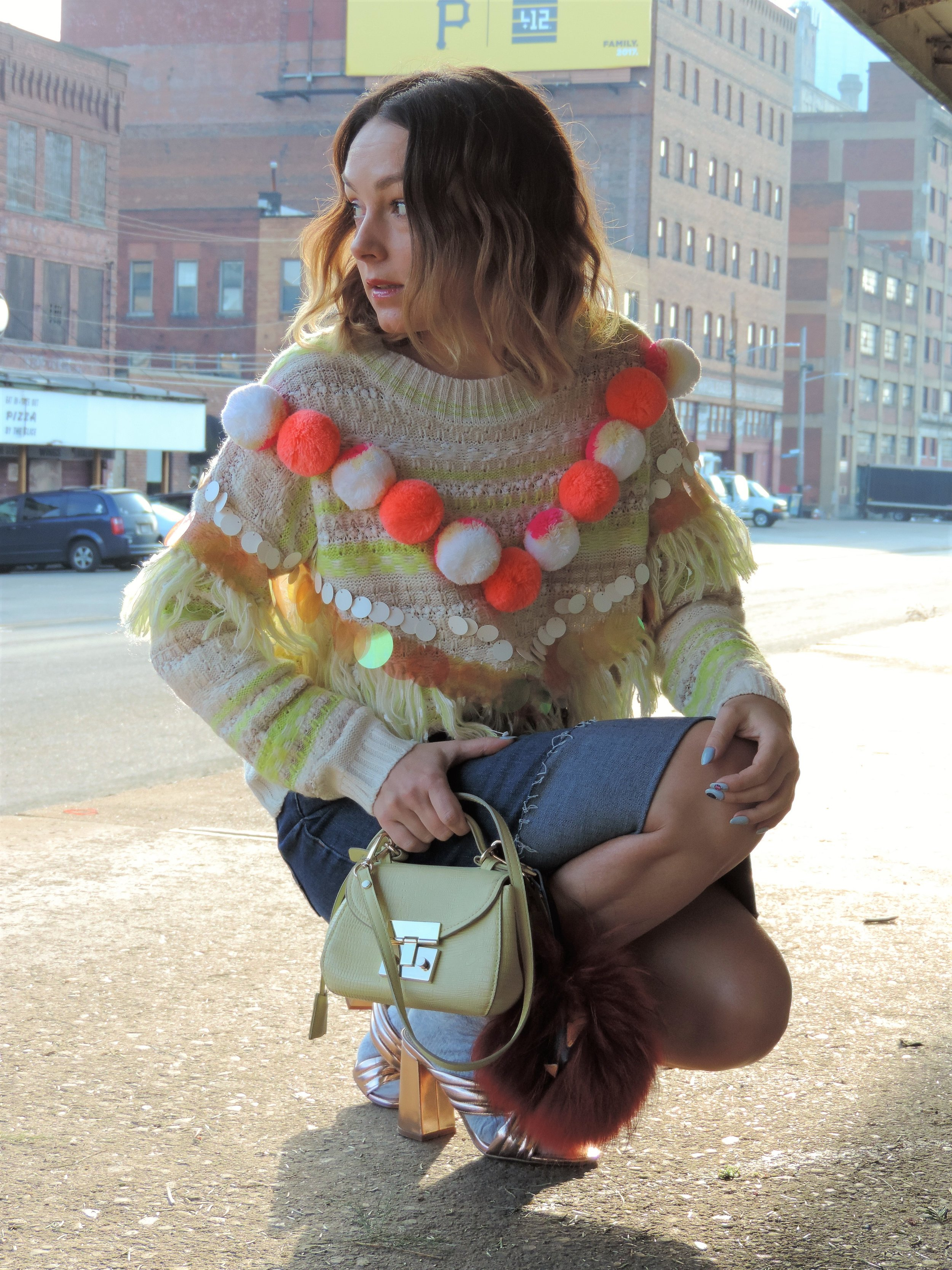 how to style pom pom sweaters