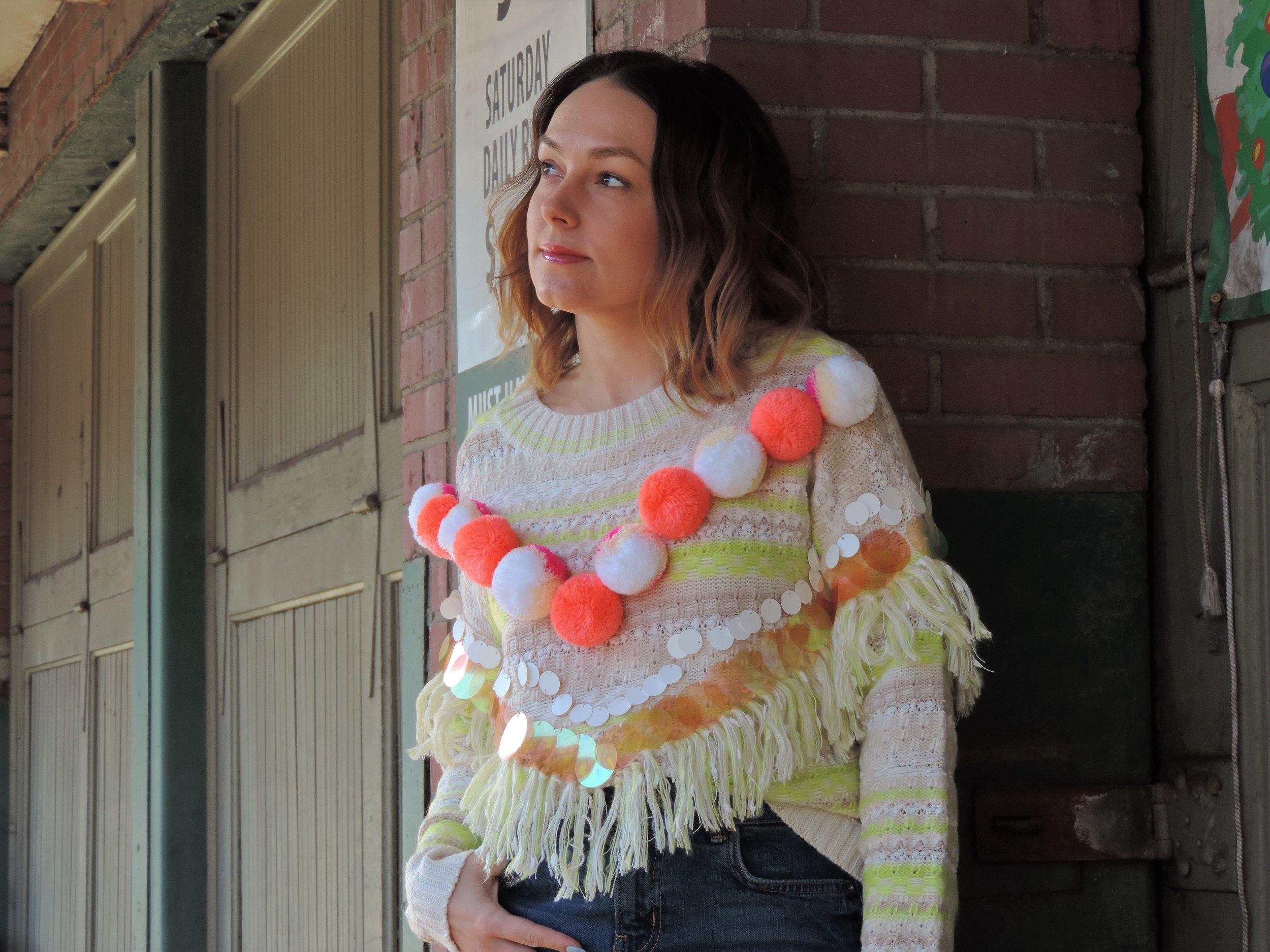 cute pom pom sweater