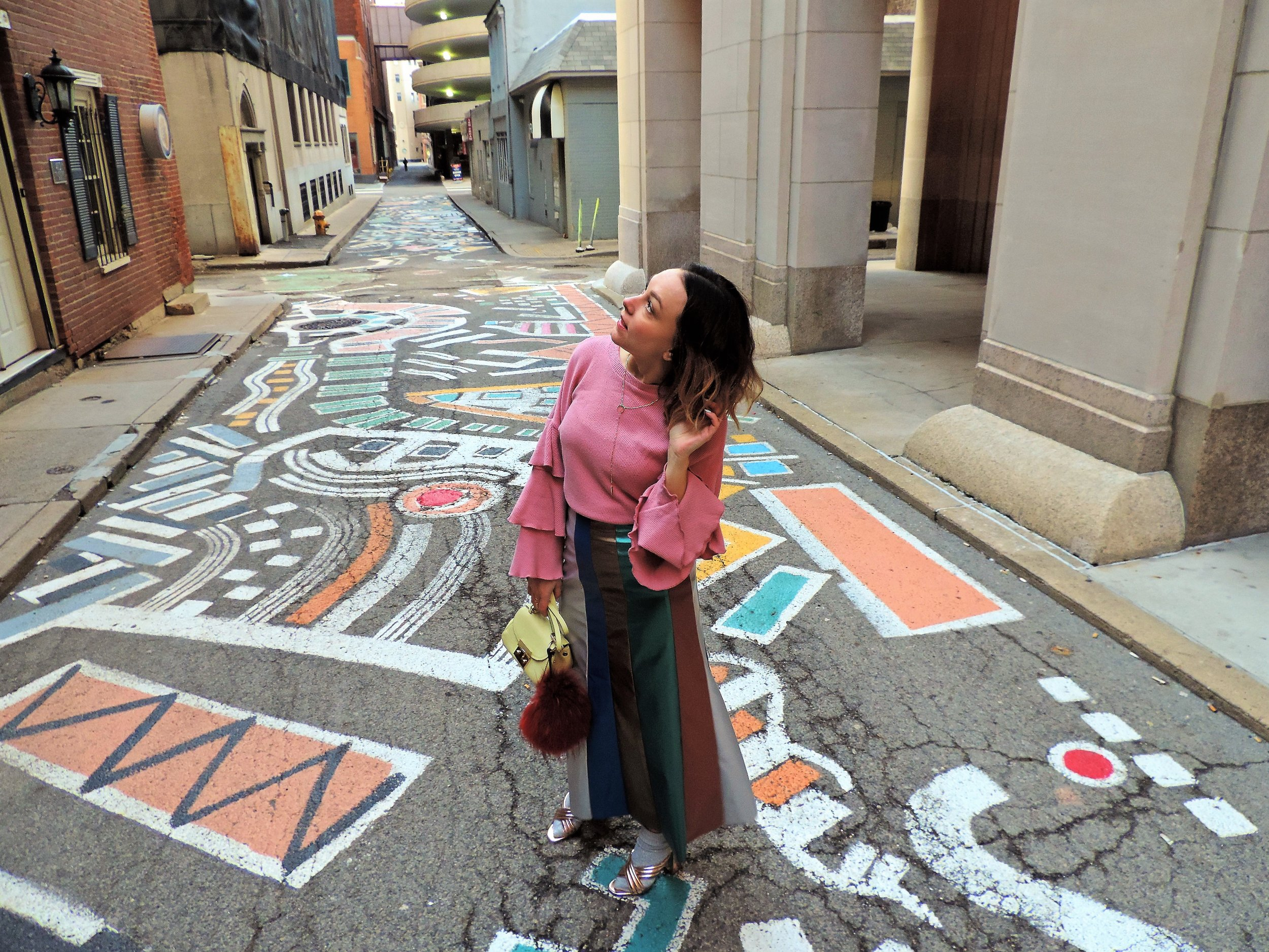 colorful streets in downtown pittsburgh