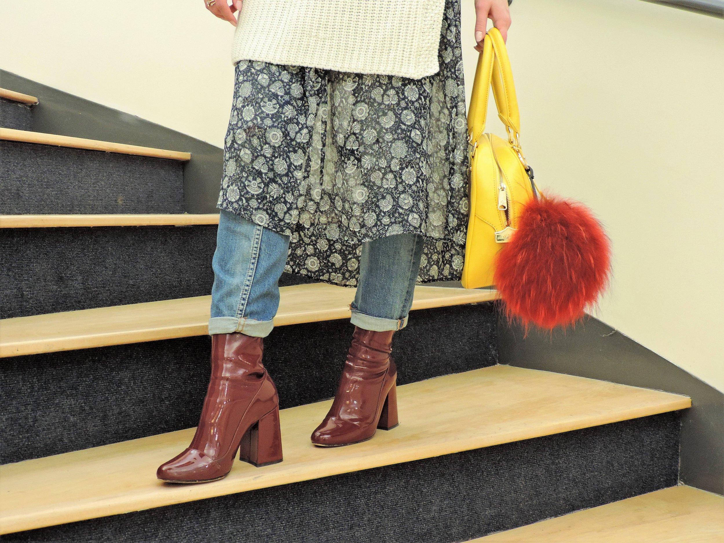 patent leather burgundy block-heel boots