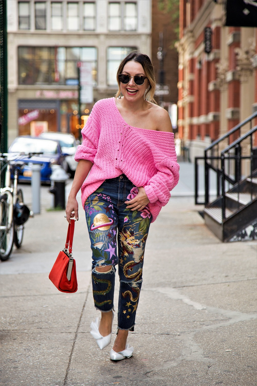 fashion week street style jeans