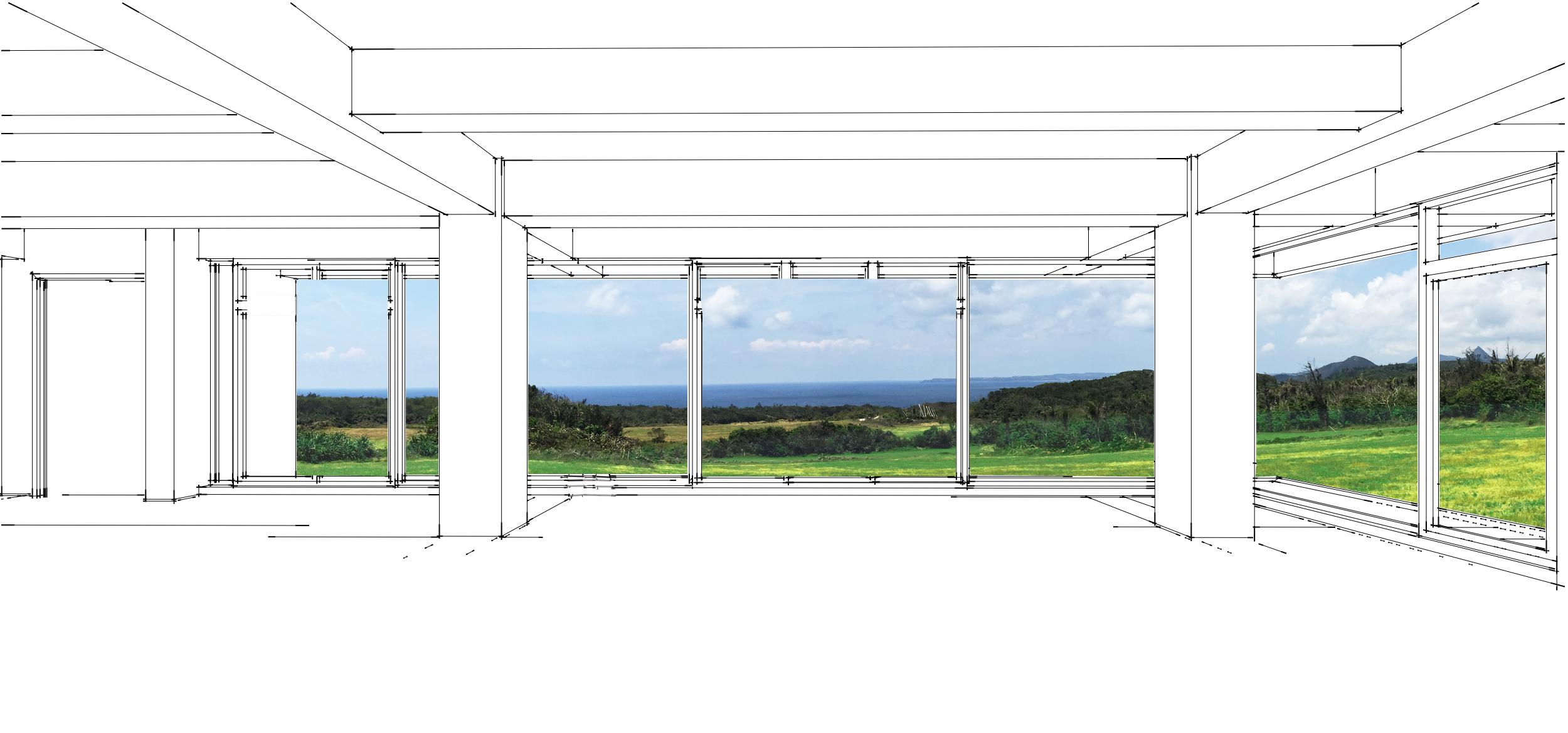屋簷、地板和柱子形成畫框,將景色有如一幅畫般擷取下來。