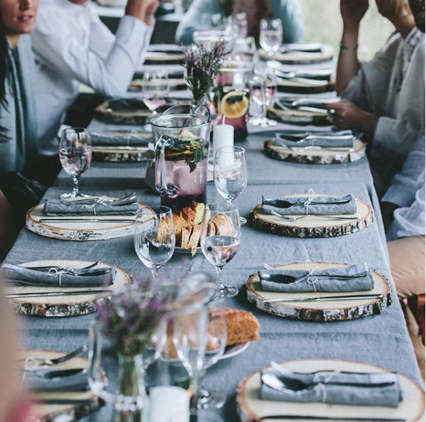 Ice blue linen tablecloth