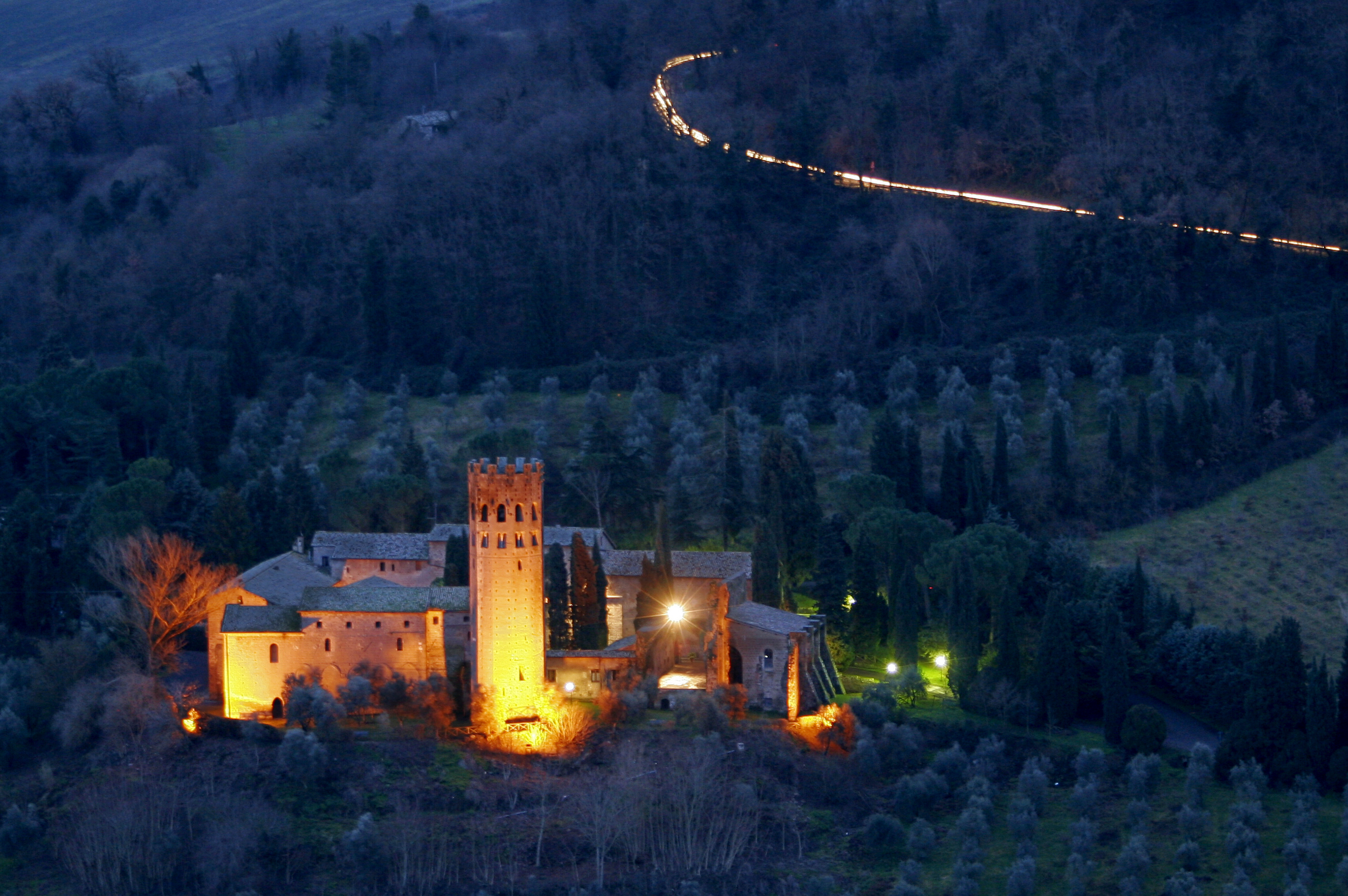 La Badia: the 11th century Benedictine monastery below the town, now a hotel (Photograph by Daniel Nystedt).