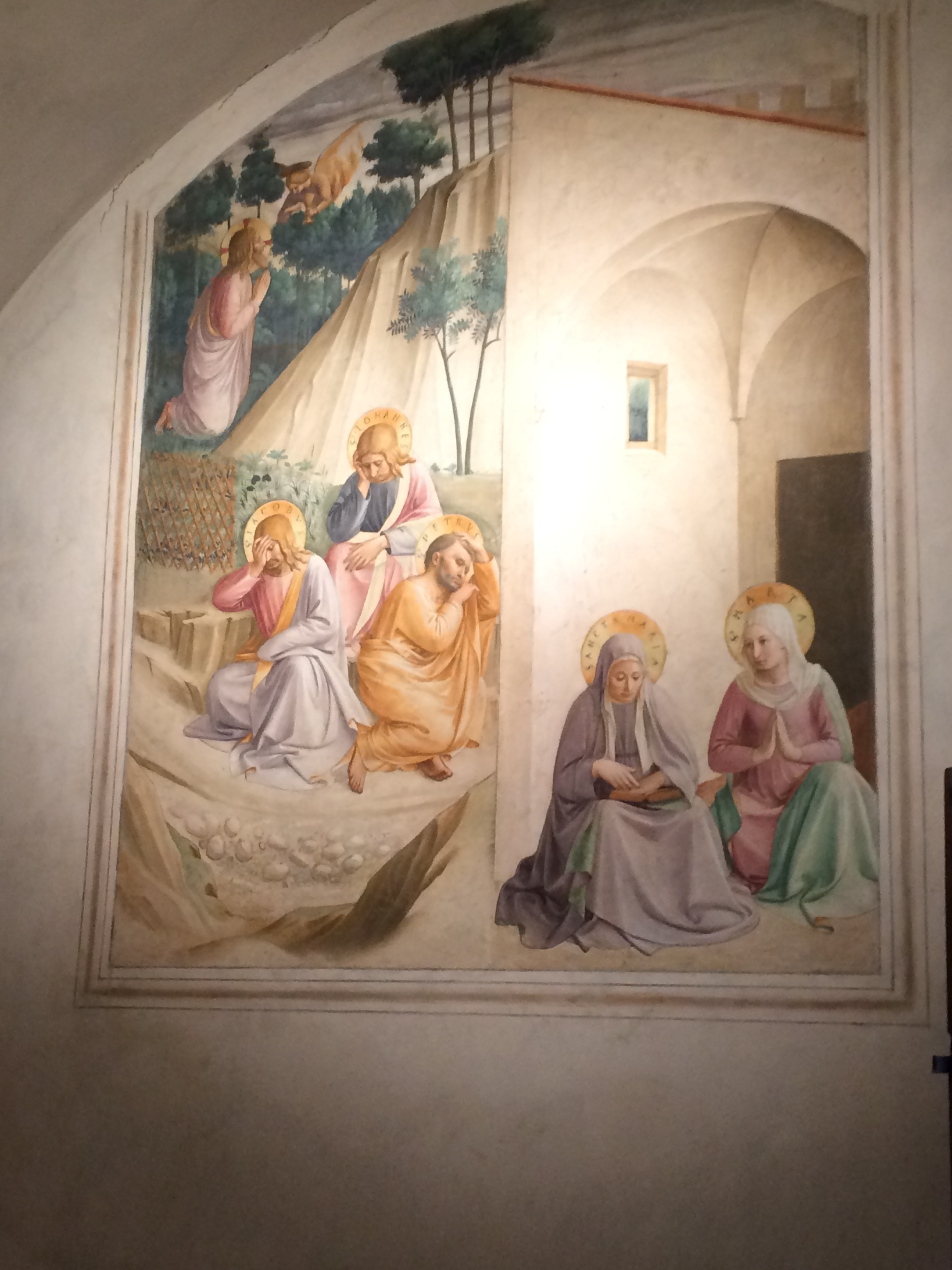Jesus praying in Gethsemane, disciples asleep, Mary & Martha awake in prayer (Fra Angelico, Monastery San Marco, Florence [author's photograph]