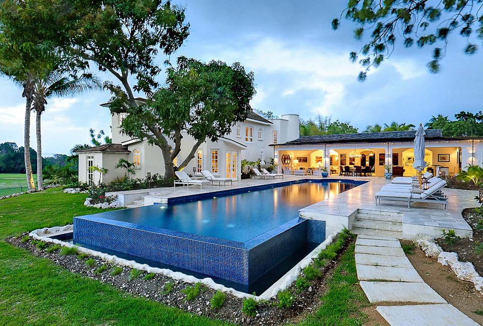 My home for the week -7,800 square foot  Sandy Lane Estate in Barbados  from ThirdHome. 7 Bedroom, large swimming pool, private gold course