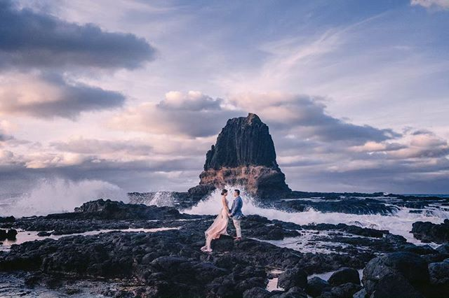 After all this time we're so glad to have found a couple who wanted to shoot at Cape Schanck with us in @jiawenlee_ and Joshua! Definitely now one of our favorite spots to shoot at in Melbourne - on one side you get the lighthouse and the epic boardwalk, and the other, Pulpit Rock, where I've been dying to get a shot at basically forever!  A pretty tough spot to shoot at, with tons of slippery rocks to navigate, some fairly large cesspools you have to find a pathway around, and incoming waves of varying strength that can hit you suddenly (which I personally experienced on this shoot when my poor Timberlands got soaked through for the millionth time by seawater), as well as coastal wind to make it all the more difficult! ⠀⠀⠀⠀⠀⠀⠀⠀⠀ But certainly rewarding to have gotten this frame with the waves rippling right through across the entire shot! Loved their matching outfits too, complementing each other so well! But most of all, having fun and high spirits all around with these two which made it such a blast to shoot there!  Makeup: @jadeyaumakeup  Gown: @slyc.couture . . . #bridestory #weddingscoop #sgbrides #sgweddingphotographer #shesaidyes #ido #weddingphotography #sonythemeofthemonth #weddinginspiration #weddinggoals #theknot #buzzfeedweddings #weddingstylist #gettingmarried #bridalideas #bridalcouture #bridegoals #sonylove #yestothedress #dirtybootsandmessyhair #weddingscoop #destinationwedding #weddinginspiration #theweddinglegends #sonysingapore #destinationphotographer #destinationbride #junebugweddings #weddingphotographer #melbourneprewedding