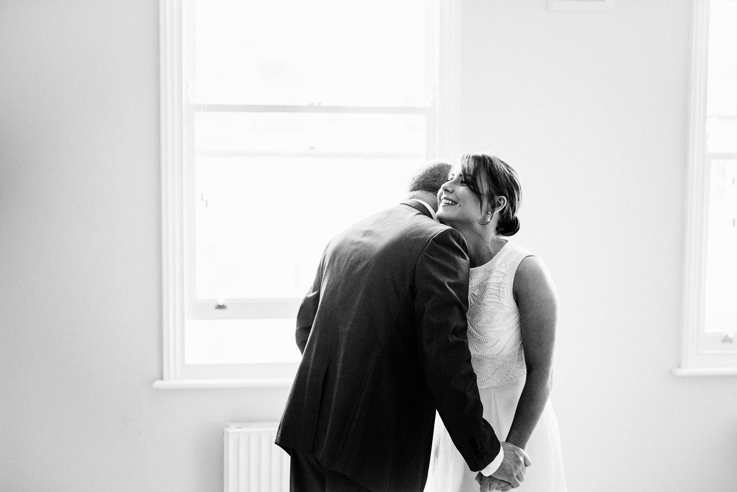Bride seeing dad for first time on wedding day
