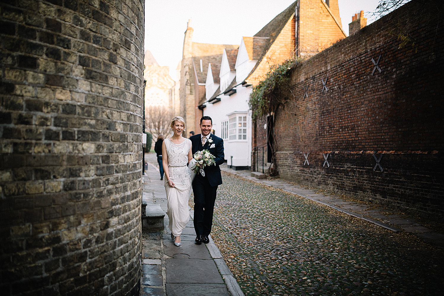 Bride and Groom walking the streets of Rye