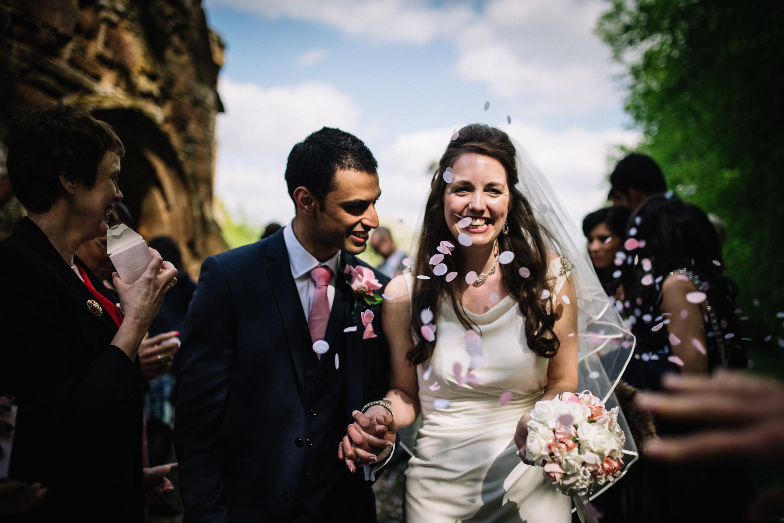 Just married confetti shot outside village church