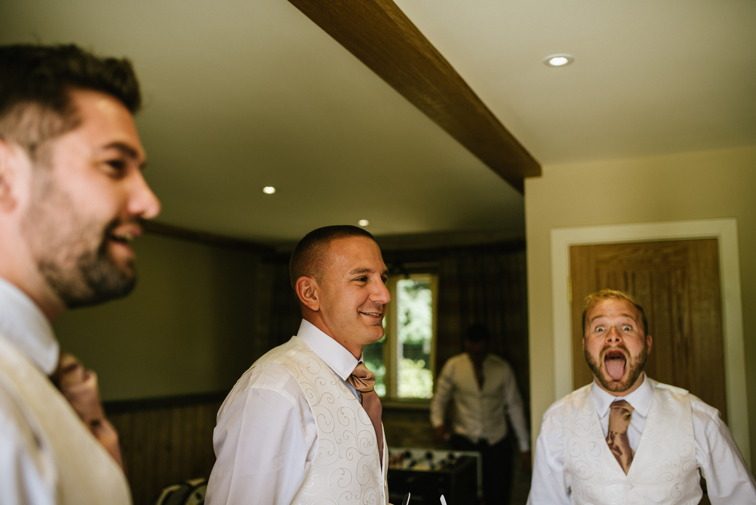 groomsmen on morning of wedding day