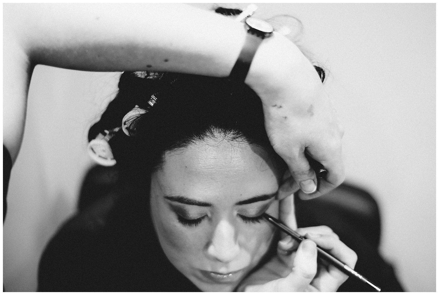 Bridal prep wedding photographer at Winchmores hair and beauty