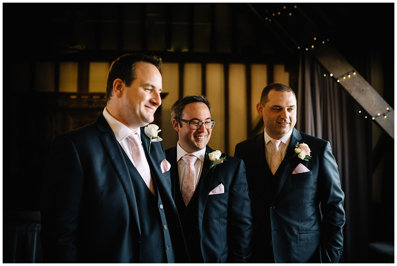 Groom and ushers waiting for bride before wedding ceremony at Essendon Country club in hertfordshire
