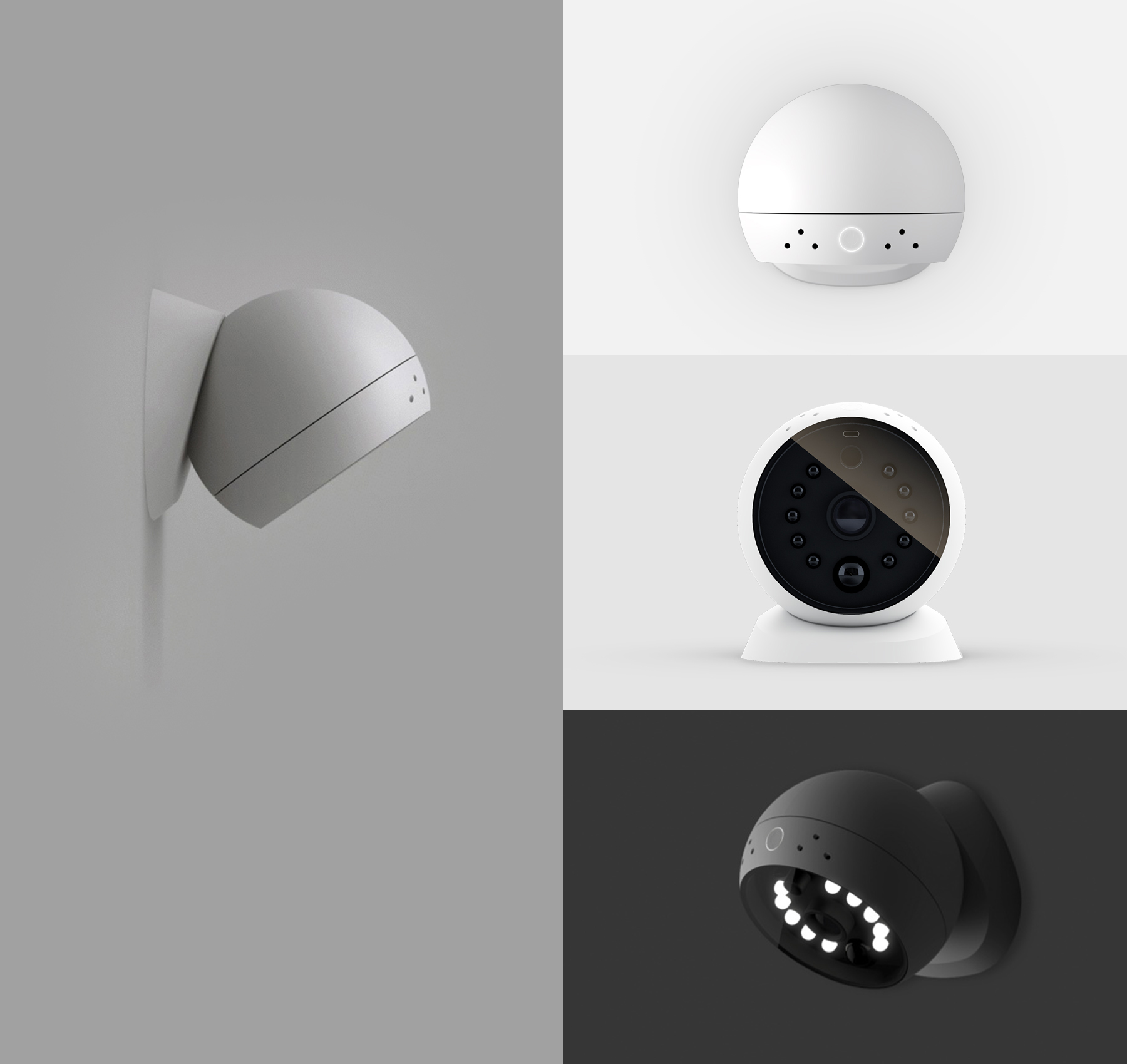 The camera has a built-in motion sensor that sends an alert to users' devices whenever it detects movement. The body is attached to a magnetic base, which allows for easy detachment and independent use, as well as rotation in any angle or direction, and a built-in LED lights for night mode.