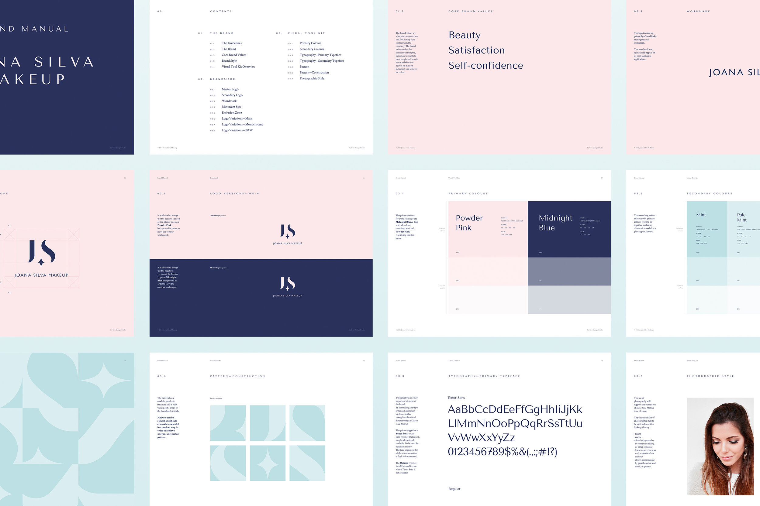 Joana Silva Makeup identity brandbook by Gen Design Studio