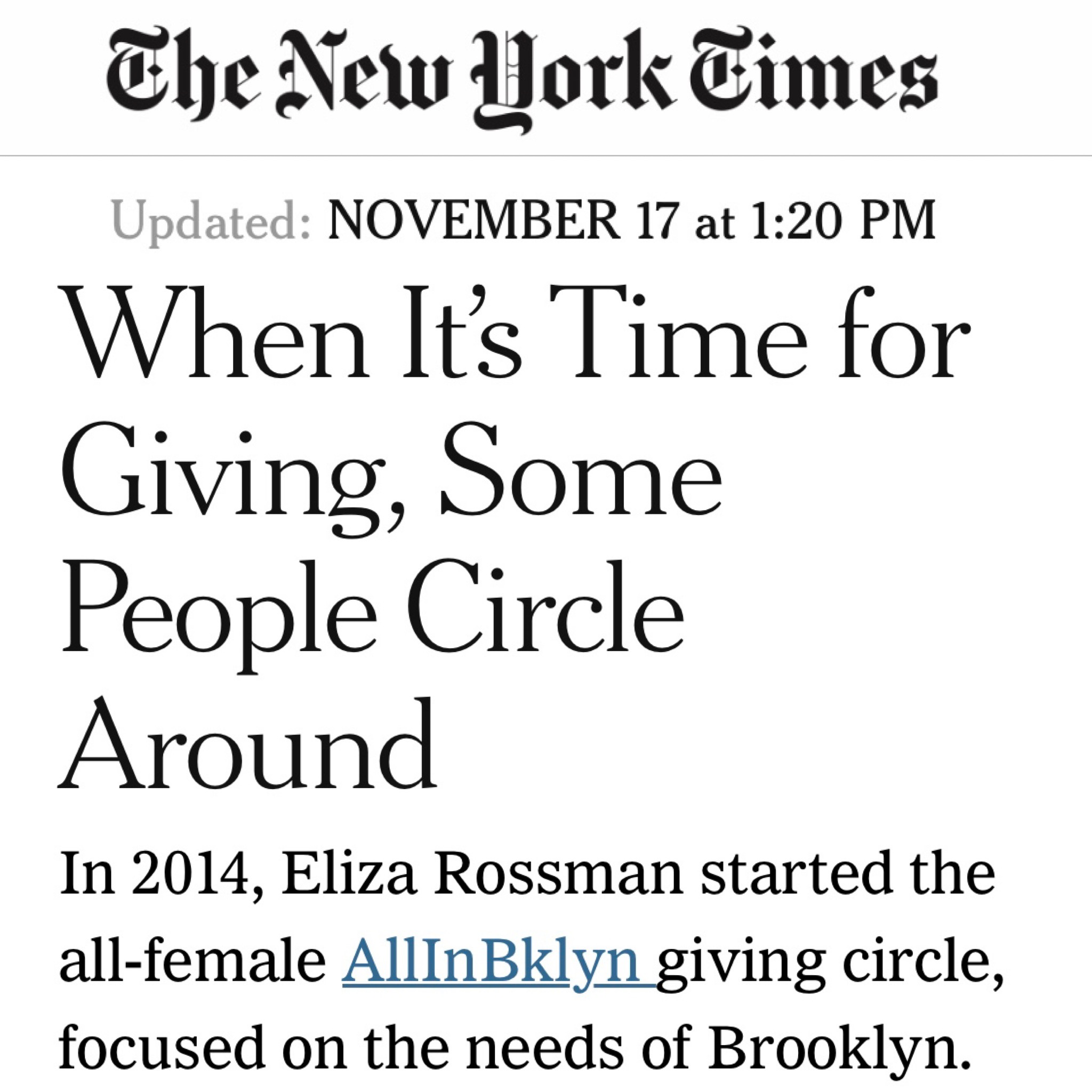 Click  HERE  for the New York Times Article