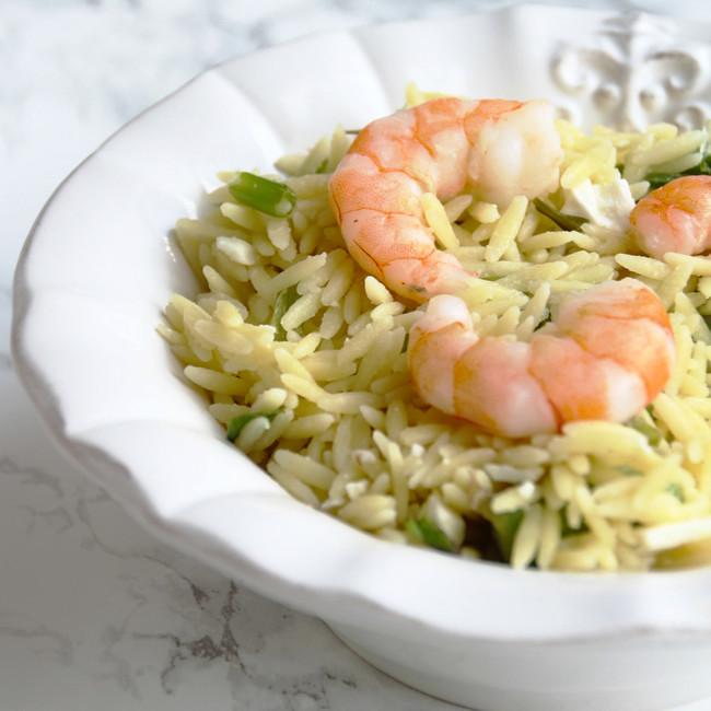 Lemon Shrimp Orzo Bowls // Healthy + delicious, easy weeknight recipe.