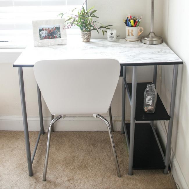 DIY Marble Desk Makeover - She Well
