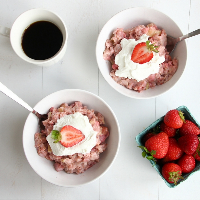 Strawberry Rhubarb Breakfast Oats from She Well