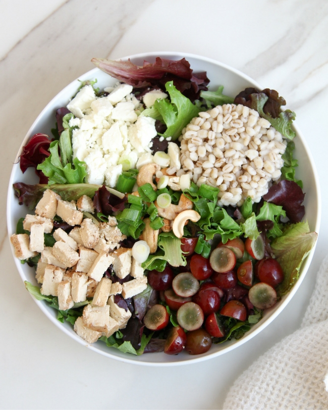 Grape Feta Greens Grains Bowl
