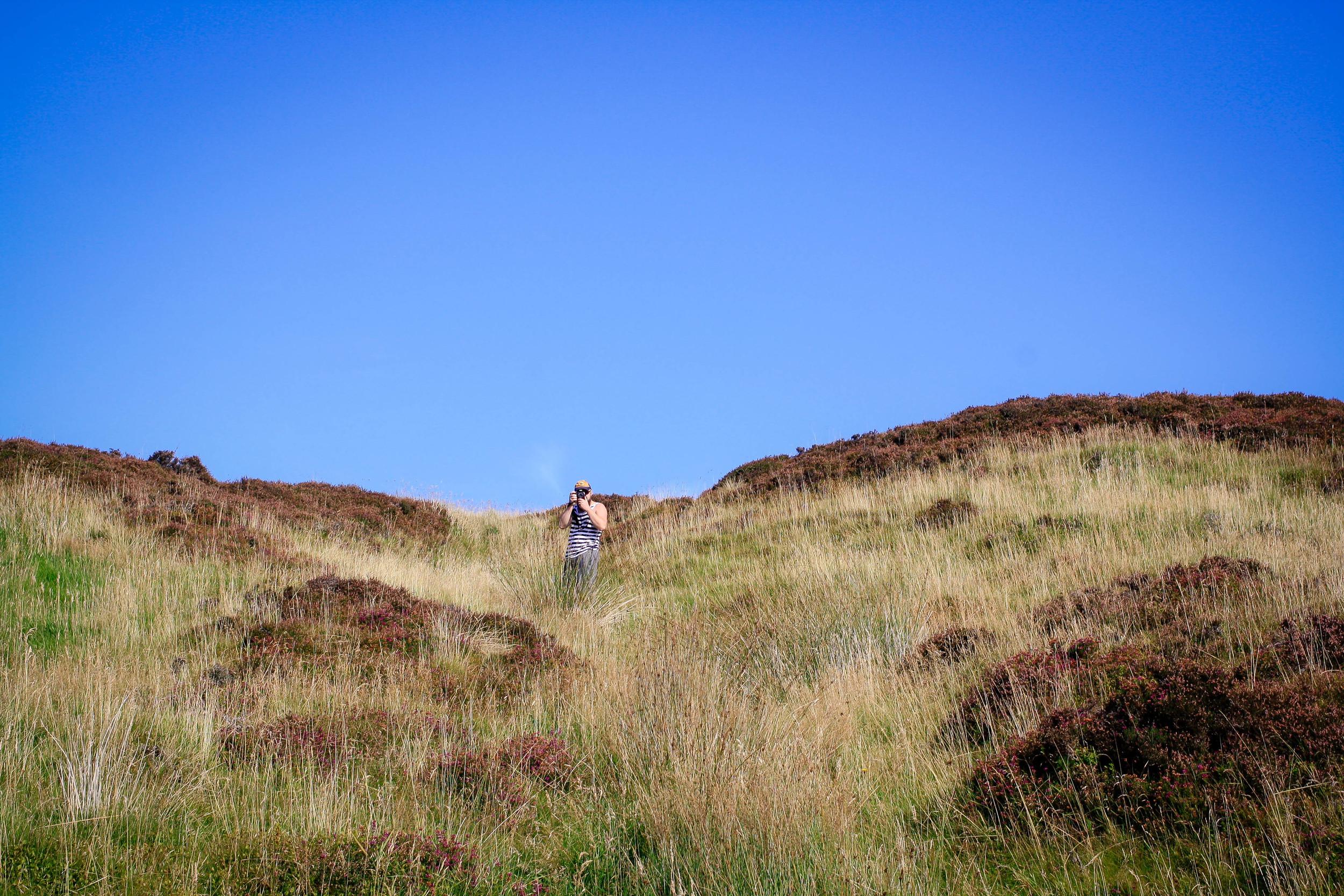 Aaron amid the heather.