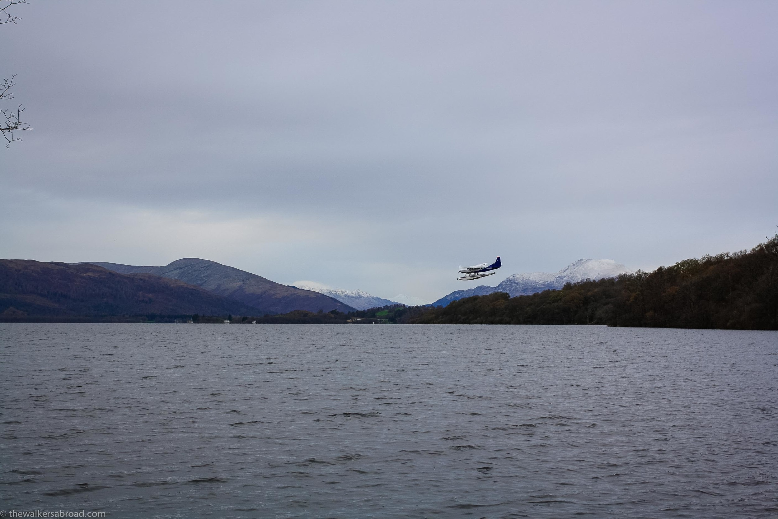 Ben Lomond (larger mountain on the right) was covered in snow. I snapped this picture just as the airplane was prepping for it's landing.