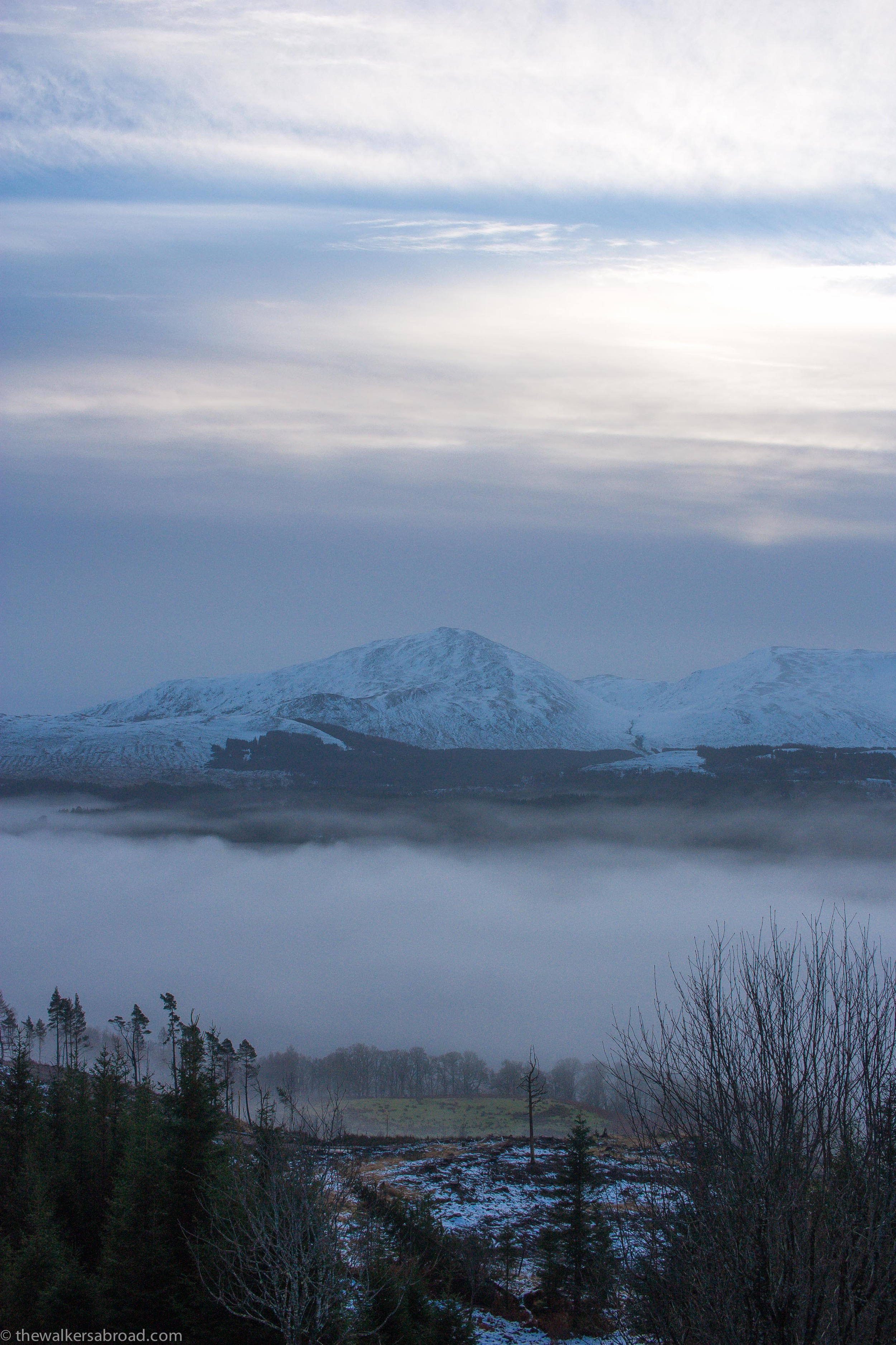 Beneath the fog is the River Garry or the beginnings of Loch Garry.