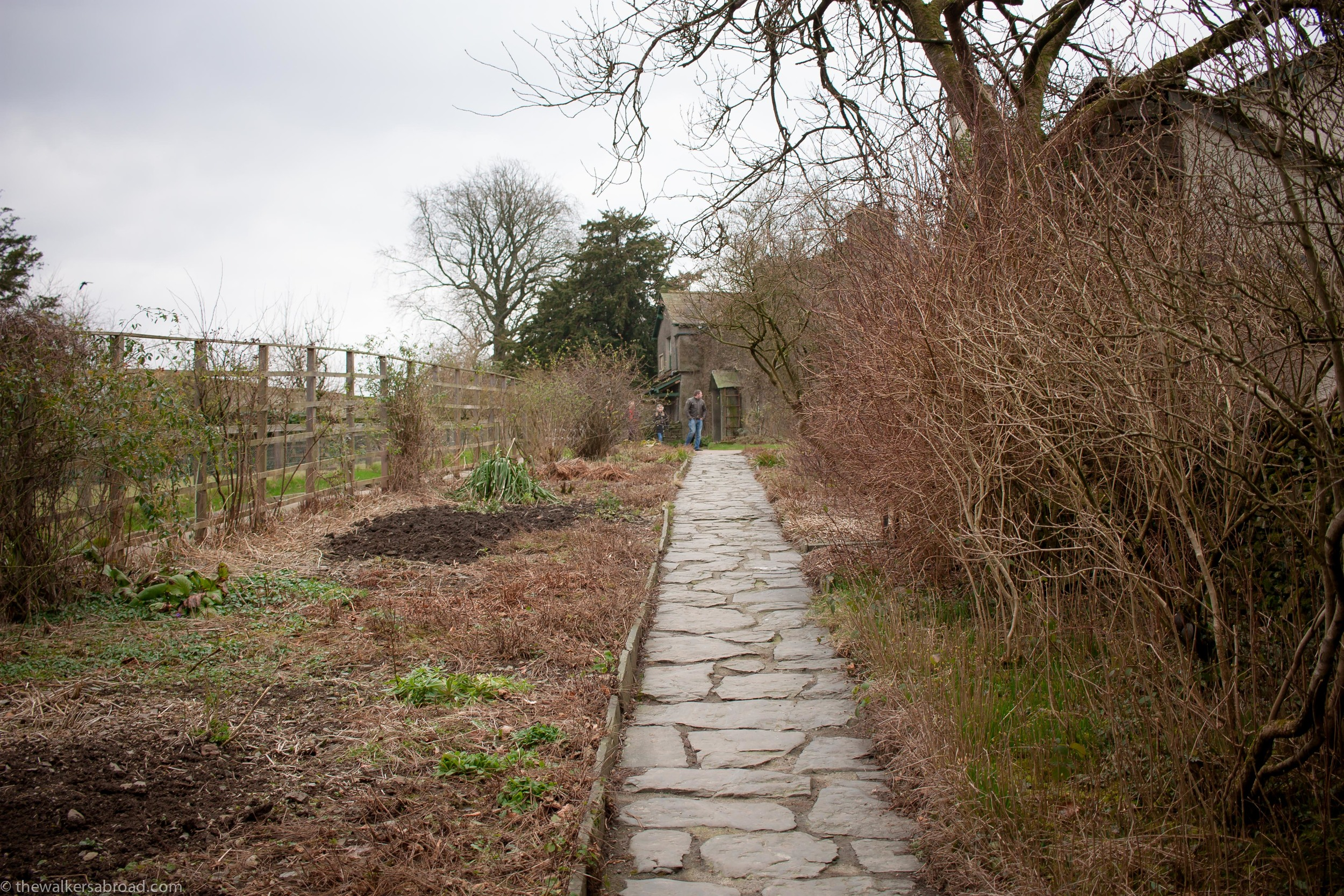 The pathway up to the house. During the spring and summer the gardens are overflowing with colorful flowers.