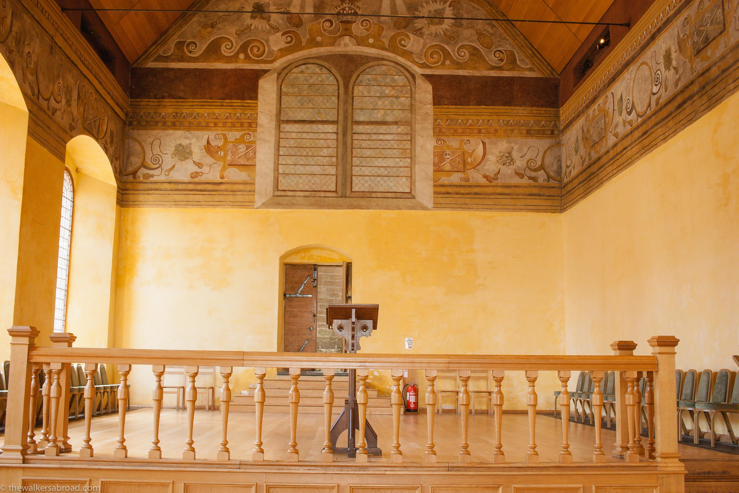 The interior paintings were completed by Valentine Jenkin in 1633 and were rediscovered in the 1930s and further restoration was completed post WW2.