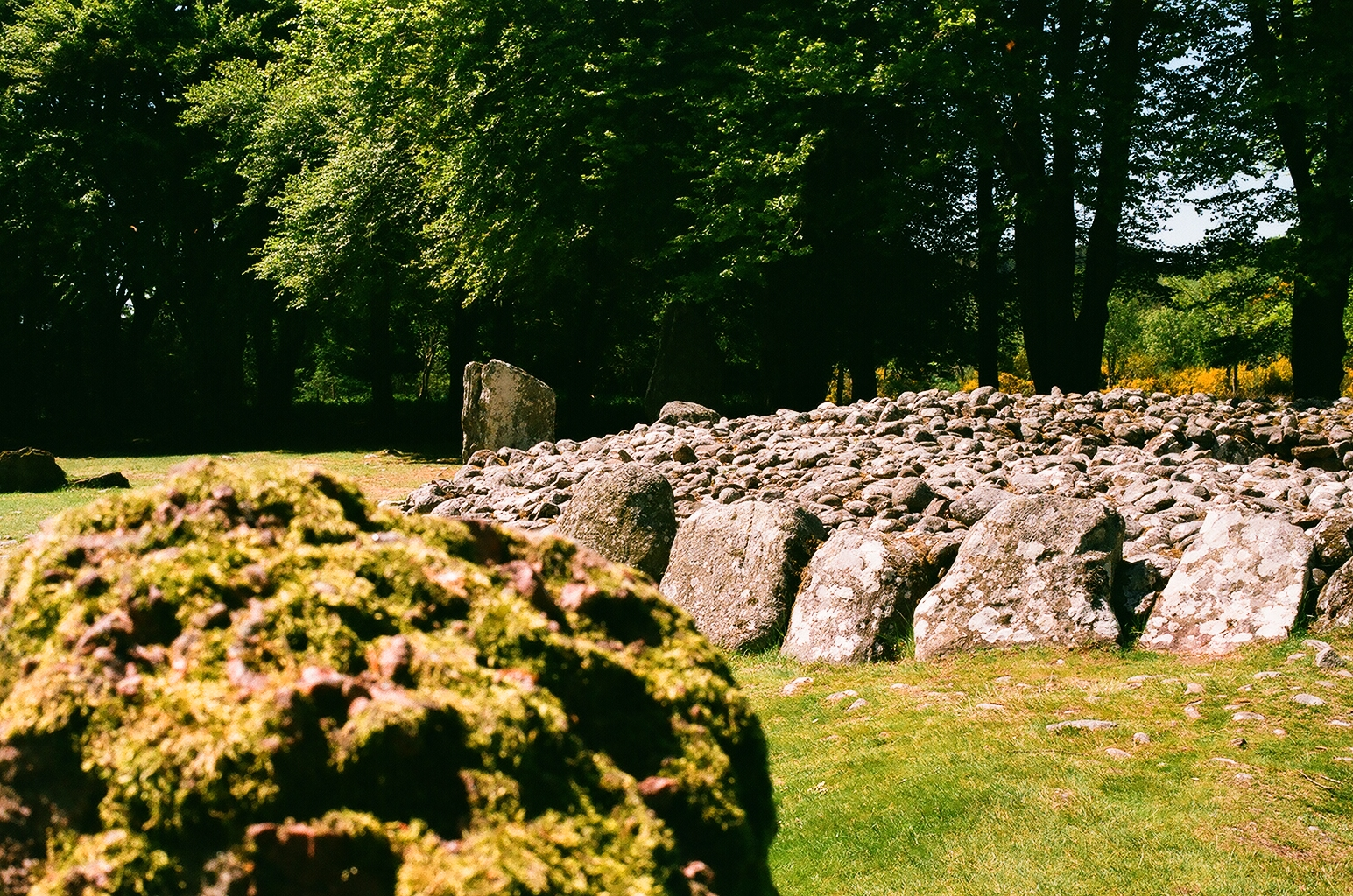 One of the passage-tombs, with the outer circle-stones visible in the foreground and background.  Picture taken on 35mm film.