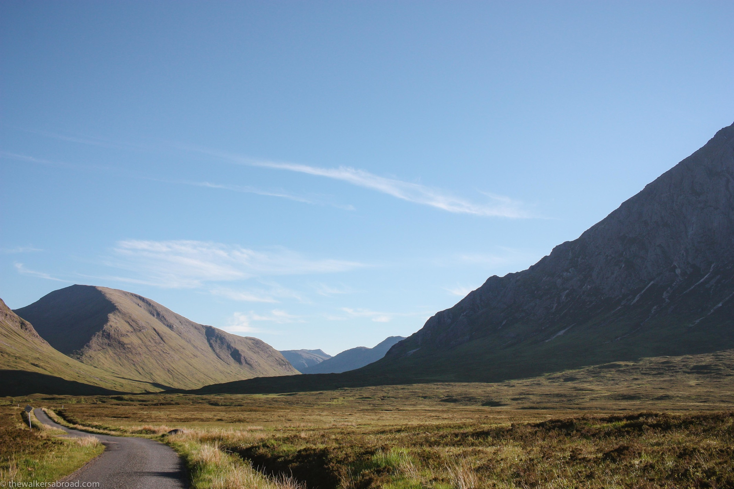 The one way road down to Glen Etive.