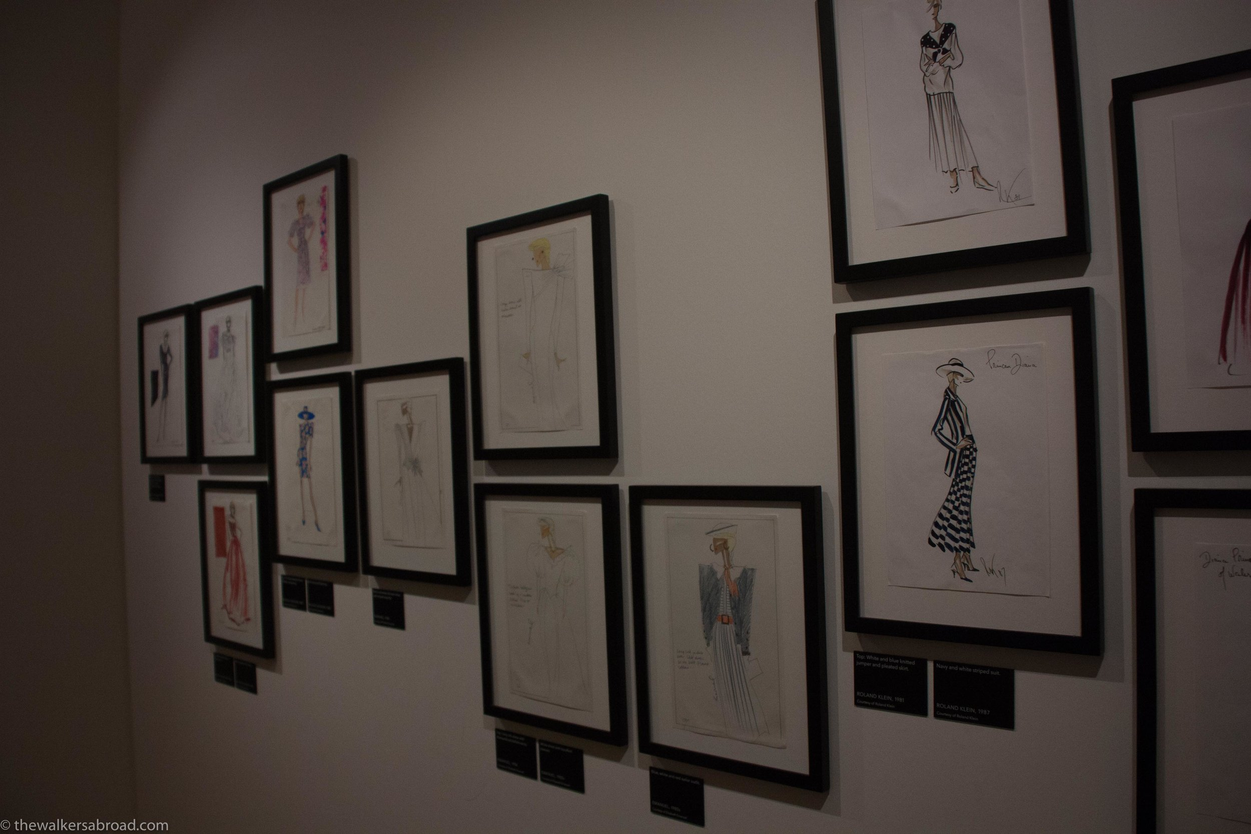 Sketches of Princess Diana's dresses