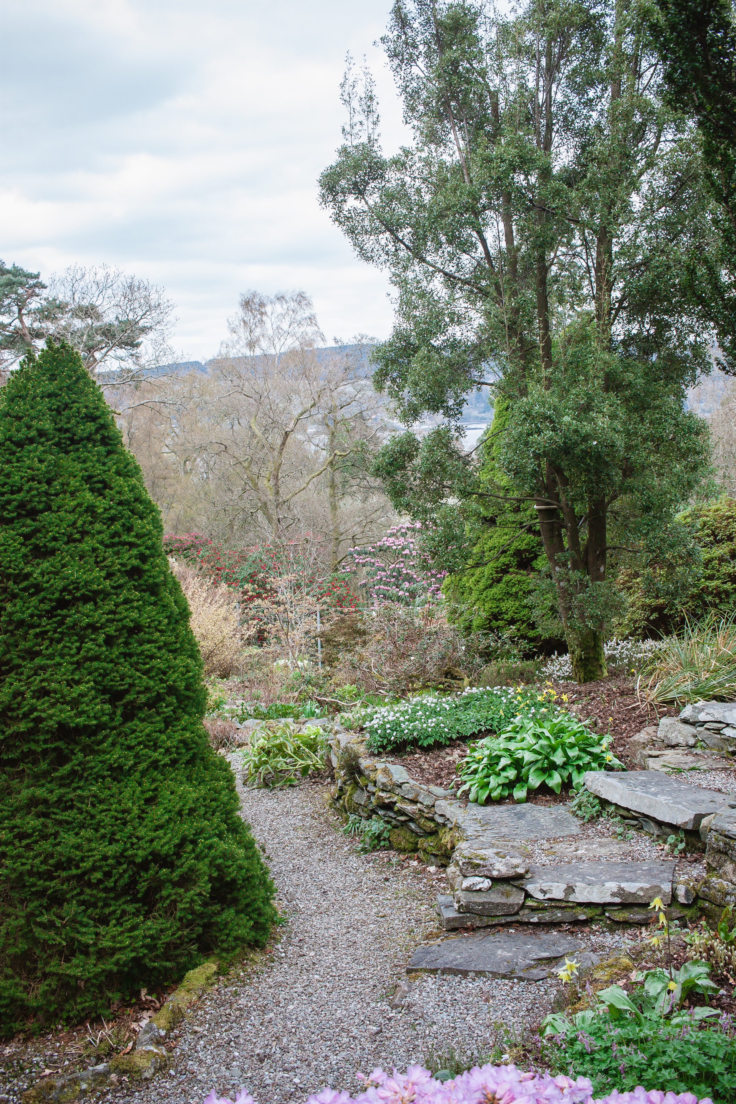 The rock garden. Consisting of rocky paths up the side of the hill, it is full of beautiful plants and blooms and at the top, one can enjoy a stunning view of the glen and across the Loch.