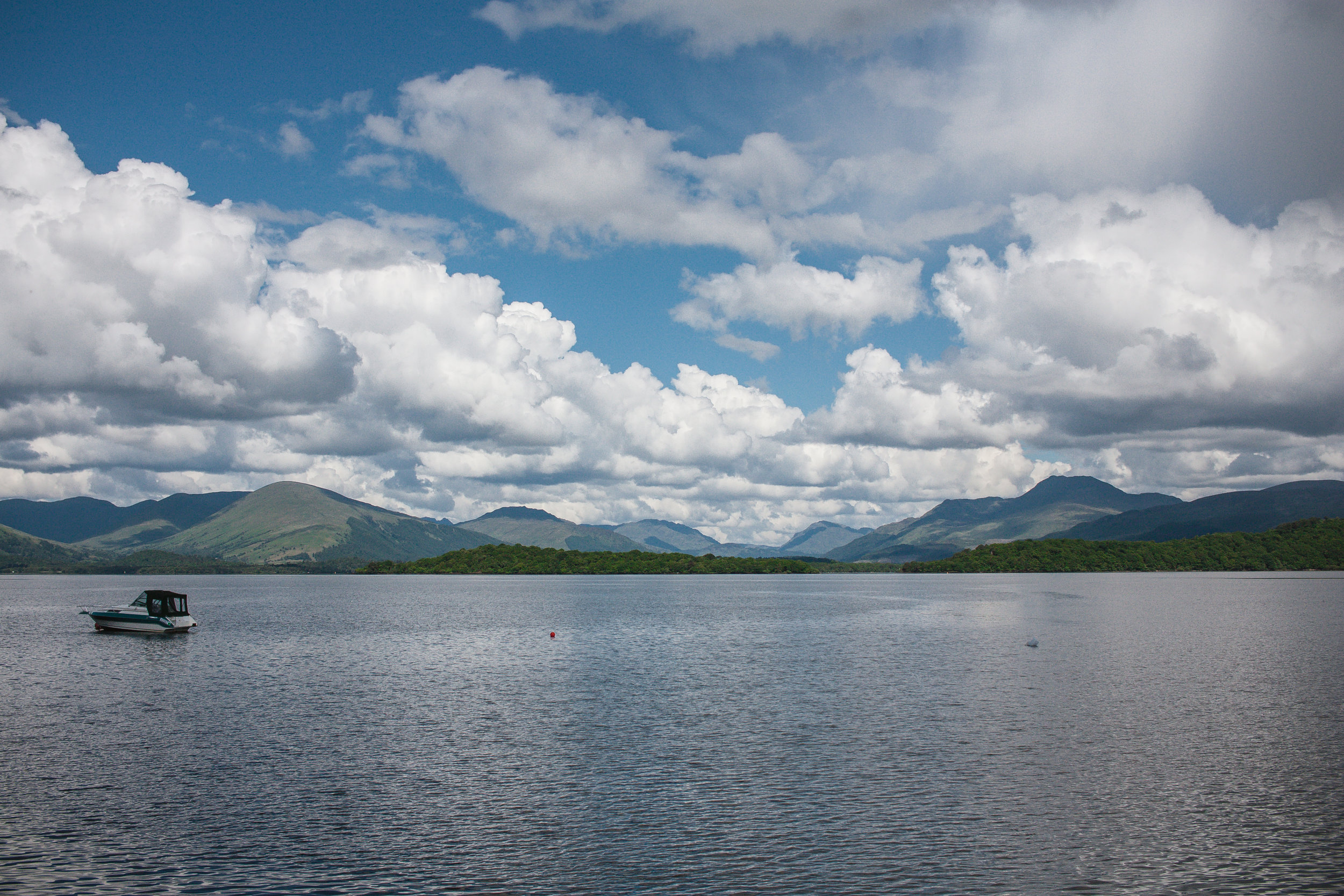 Looking across Loch Lomond with Luss to the left of the picture and the massive Ben Lomond to the right.