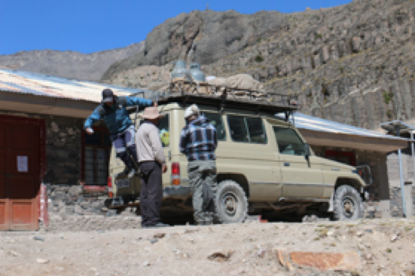 """After about 8 hours' drive from home and up over 16,000 feet elevation, our team of Quechua church planters arrive each month to teach the gospel to shepherd families and school children. We must take adequate gear for freezing nights, all our food, camping kitchen, and all the tools and equipment to deal with whatever we might encounter (mechanical problems, getting stuck in streams or mud, etc.). Our current goal is to visit once a month, but during the summer rainy season, roads are often impassable. When the schools are open, the teachers allow us to sleep on the floor of the school rooms. Without reliable places to stay when we visit, we are hoping to build small portable cabins in some of the villages. These can be built from pre-fab kits we can buy in the city and then have trucked into the villages that have established """"roads"""". Then we can stay longer and minister from these cabin locations."""