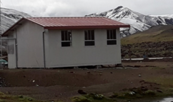 - Example of a prefab/portable cabin available here in Peru.