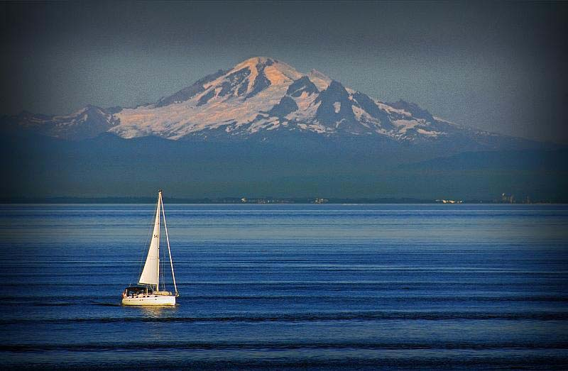 Bellingham and Mt. Baker as seen from Lummi Island.