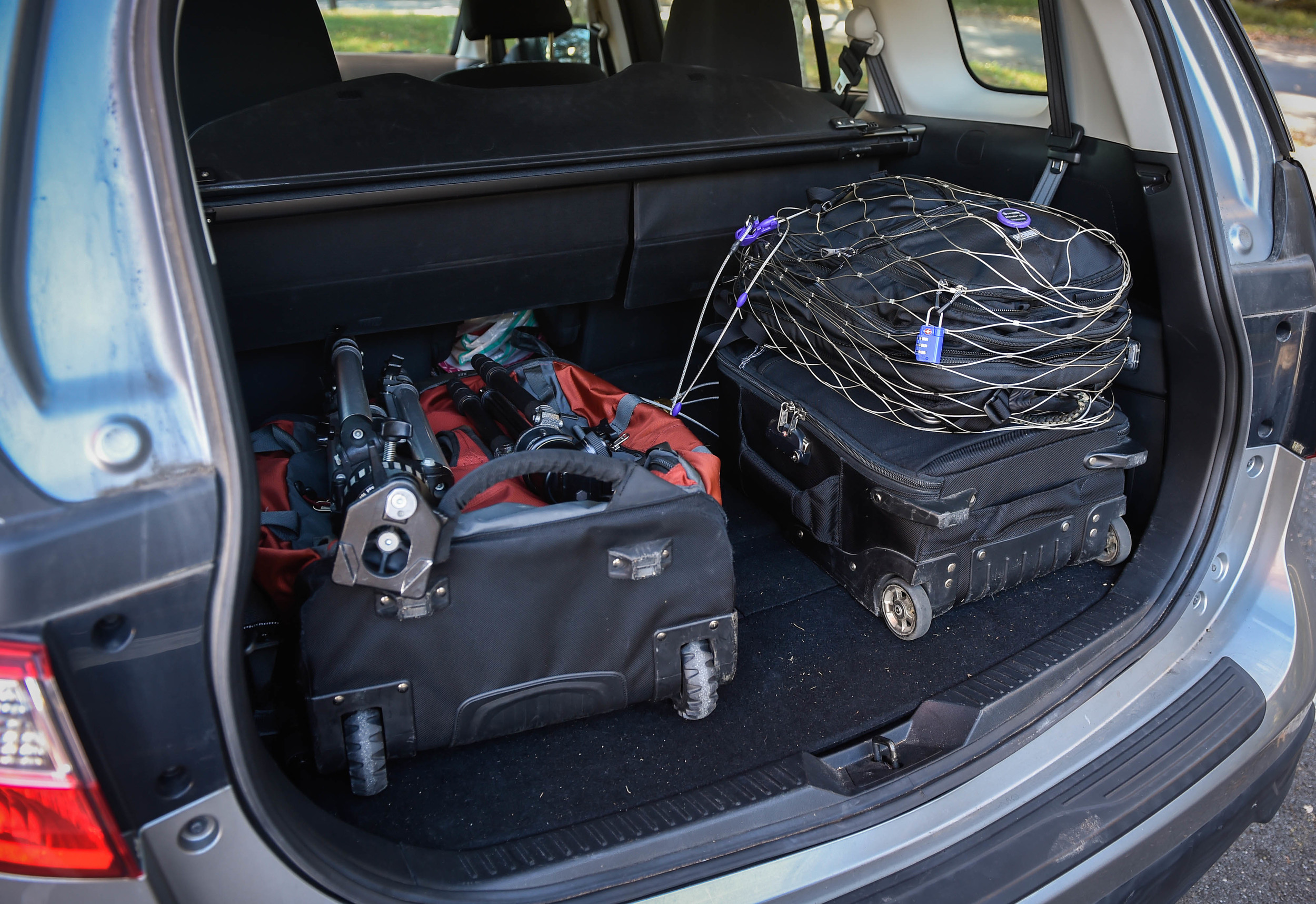 While a trunk seems more secure than an SUV or hatchback, it's still no guarantee that your equipment is any safer. Out of site is good, but it doesn't mean out of mind.
